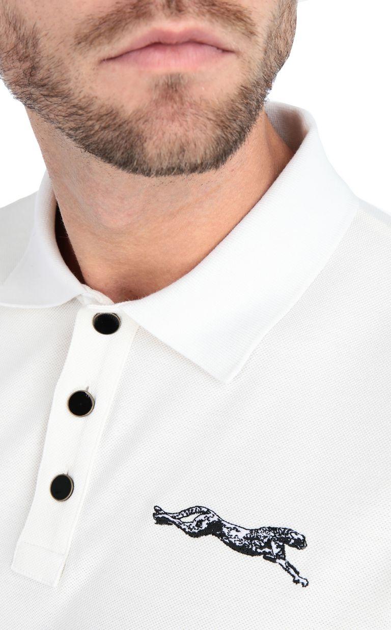 JUST CAVALLI Plain polo shirt with cheetah Polo shirt Man e