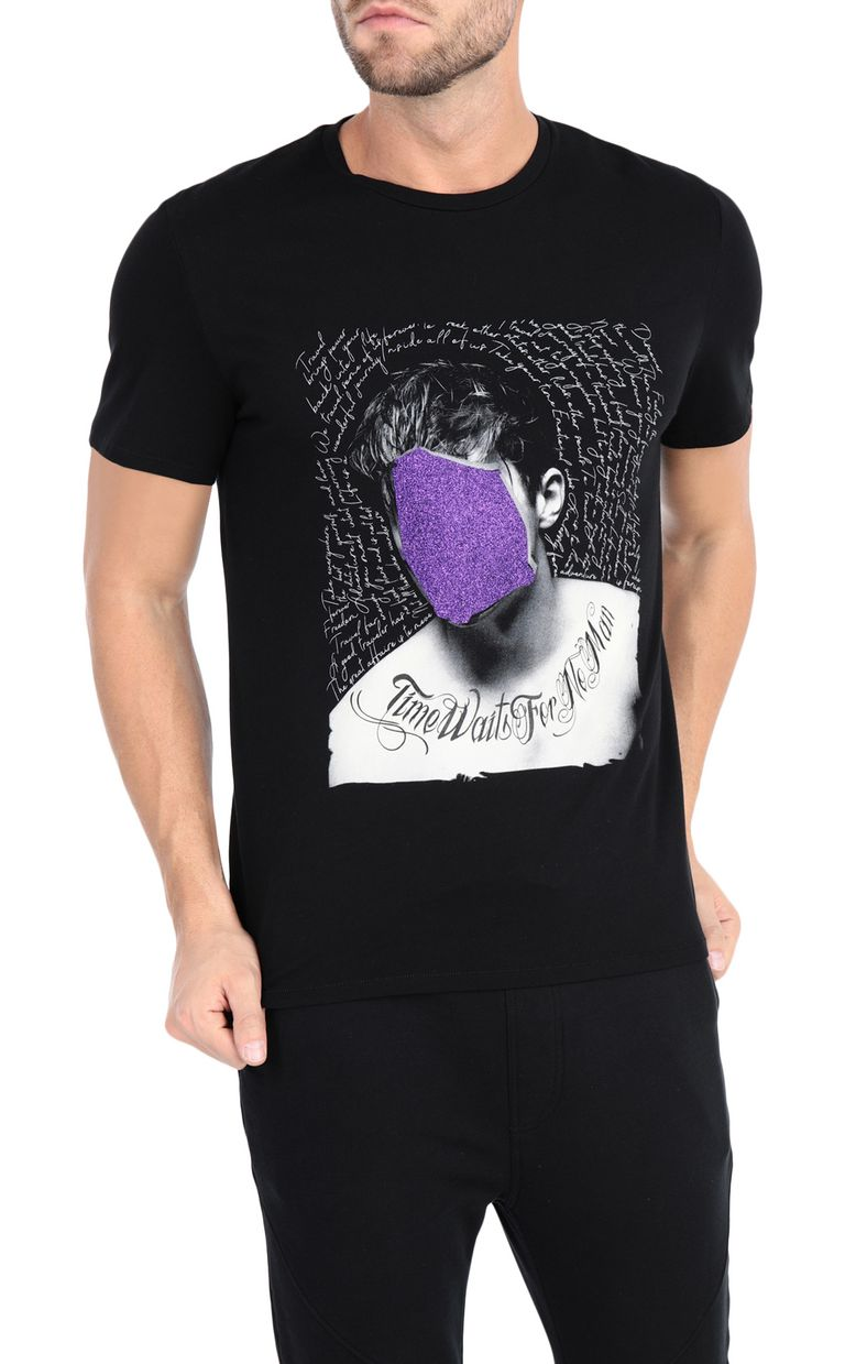 JUST CAVALLI Black t-shirt with poster detail Short sleeve t-shirt Man f