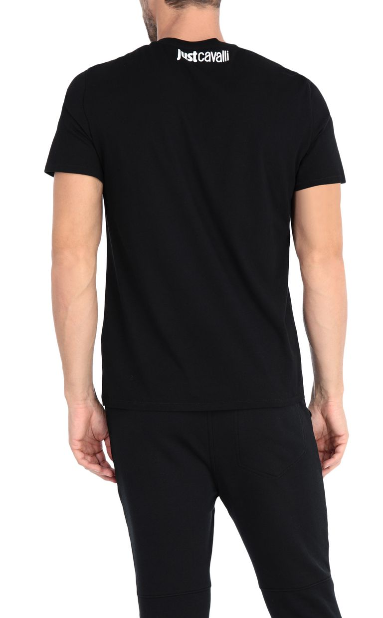 JUST CAVALLI Black t-shirt with poster detail Short sleeve t-shirt Man r