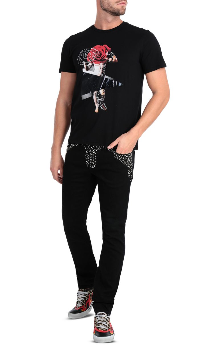 JUST CAVALLI T-shirt with sculpture print design Short sleeve t-shirt Man d