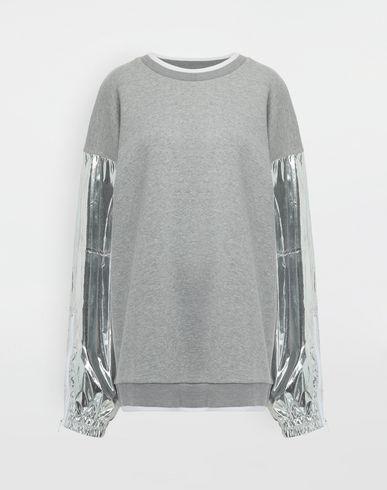 MAISON MARGIELA Sweatshirt [*** pickupInStoreShipping_info ***] Silver panelled-sleeve jersey sweatshirt f
