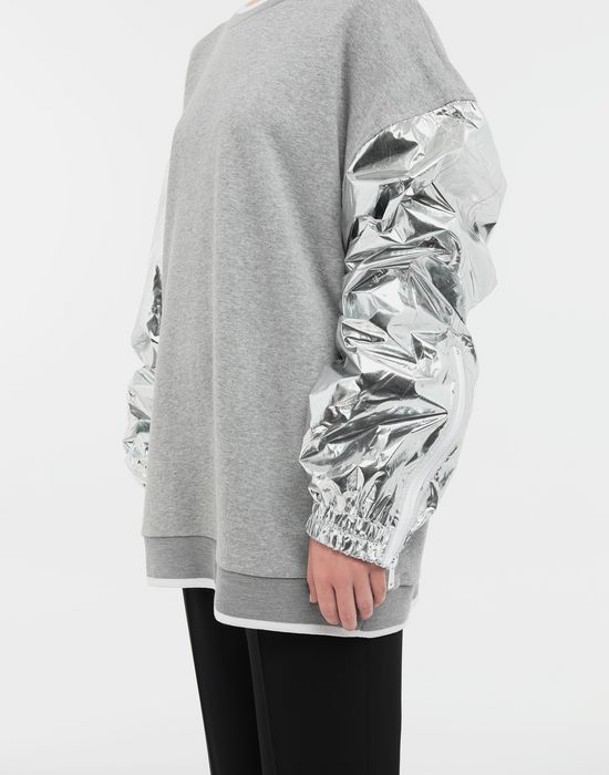 MAISON MARGIELA Silver panelled-sleeve jersey sweatshirt Sweatshirt [*** pickupInStoreShipping_info ***] a