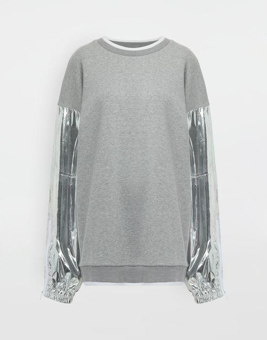 MAISON MARGIELA Silver panelled-sleeve jersey sweatshirt Sweatshirt [*** pickupInStoreShipping_info ***] f