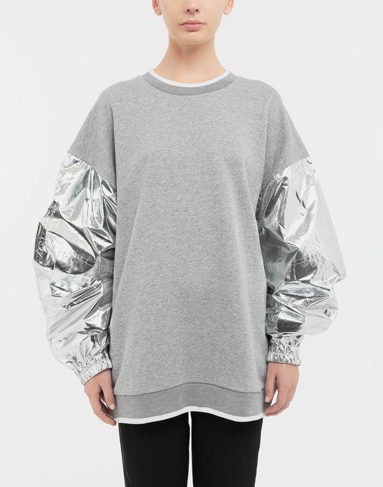MAISON MARGIELA Silver panelled-sleeve jersey sweatshirt Sweatshirt [*** pickupInStoreShipping_info ***] r