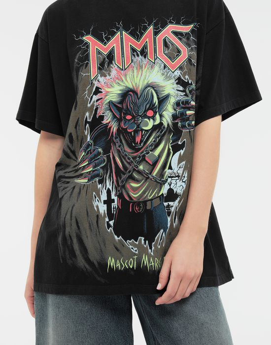 MM6 MAISON MARGIELA Zombie Cat print T-shirt Short sleeve t-shirt [*** pickupInStoreShipping_info ***] a