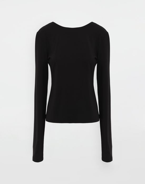 MAISON MARGIELA Ruched back jersey knit top Top [*** pickupInStoreShipping_info ***] f