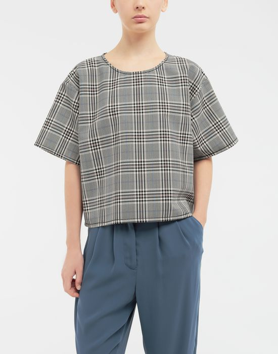 MM6 MAISON MARGIELA Checked wool-blend top Top [*** pickupInStoreShipping_info ***] r