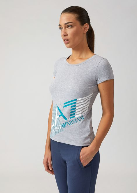 Stretch cotton T-shirt with large print
