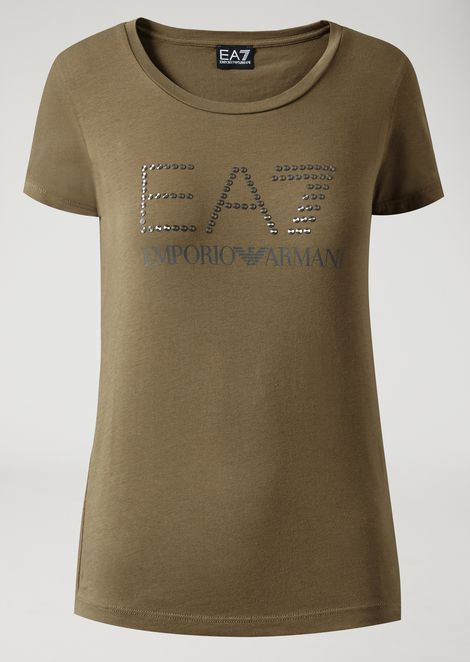 Stretch cotton T-shirt with studded logo