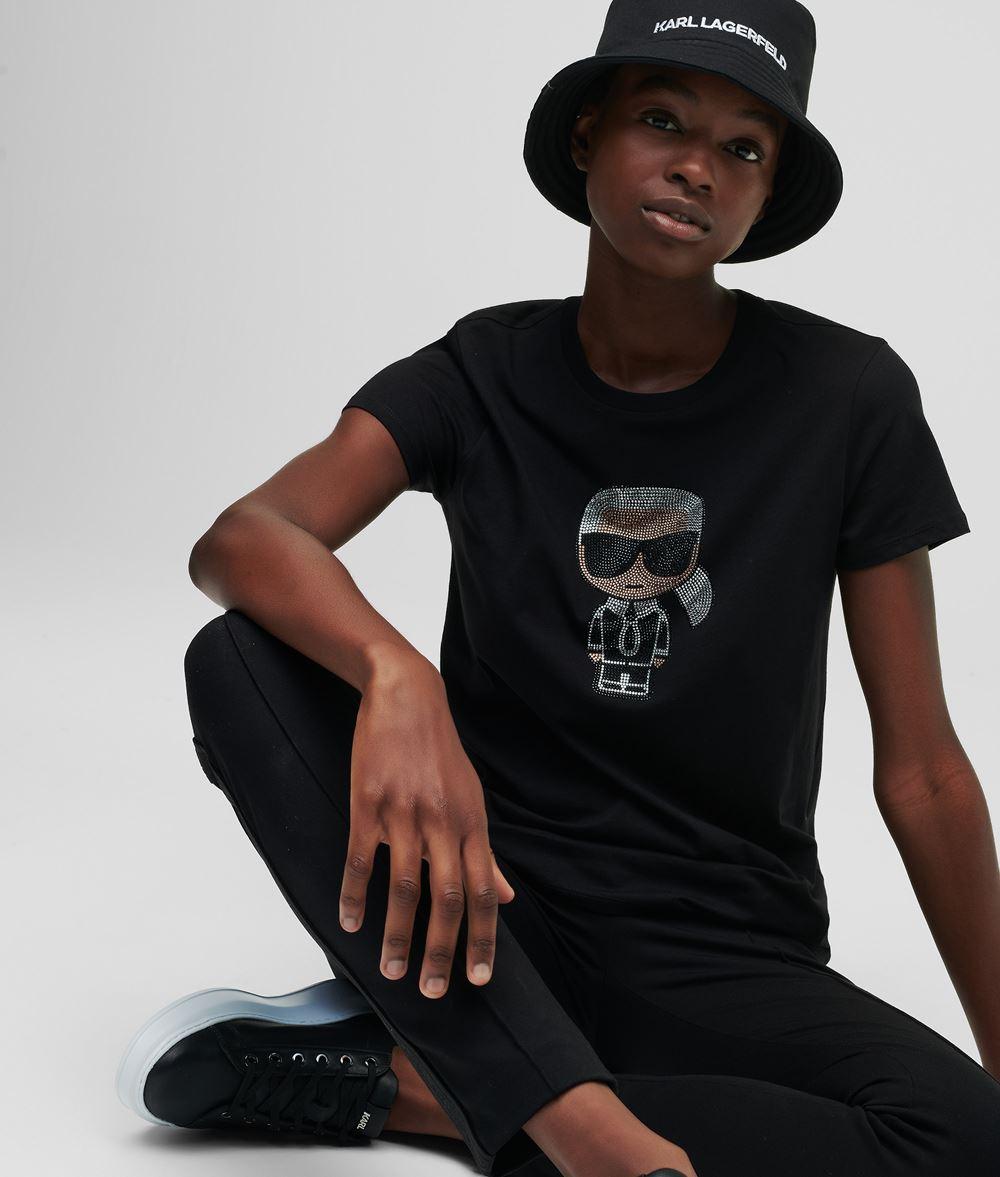 KARL LAGERFELD K/Ikonik Rhinestone T-Shirt T-shirt Woman f