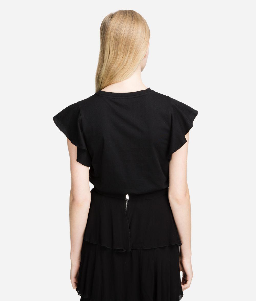 KARL LAGERFELD T-Shirt mit gerüschten Ärmeln T-Shirt Damen d