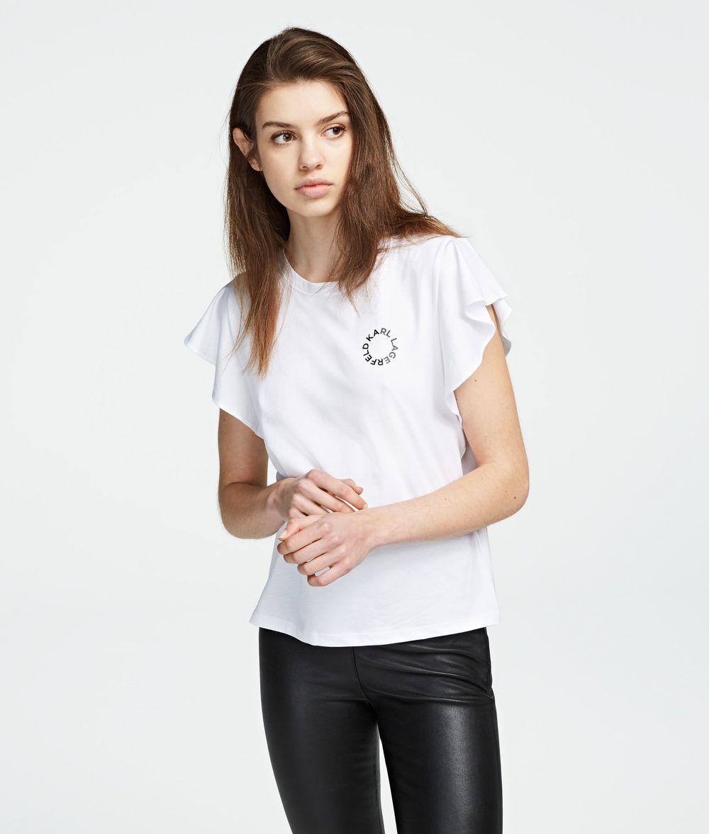 KARL LAGERFELD T-Shirt mit gerüschten Ärmeln T-Shirt Damen f
