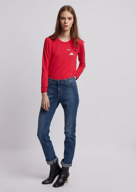 Long-sleeved t-shirt in stretch modal cotton jersey