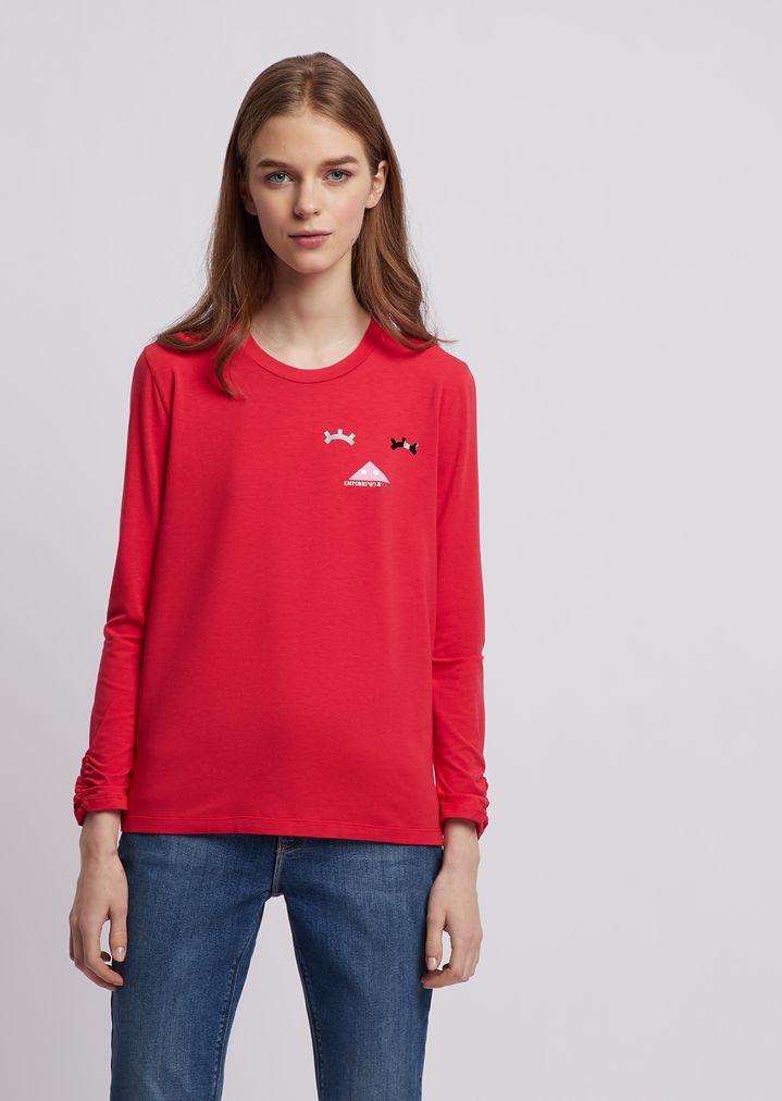 88be1bb61d T-shirt a maniche lunghe in jersey di cotone modal stretch