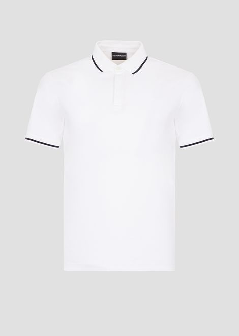 Cotton interlock jersey polo shirt with contrasting details