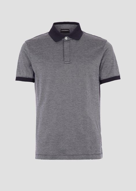 Polo shirt in micro geometric cotton with contrasting collar