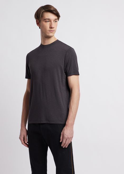 Striped stretch viscose jersey T-shirt