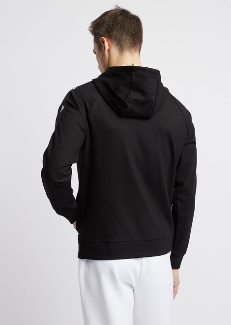Stretch interlock sweatshirt with logo bands