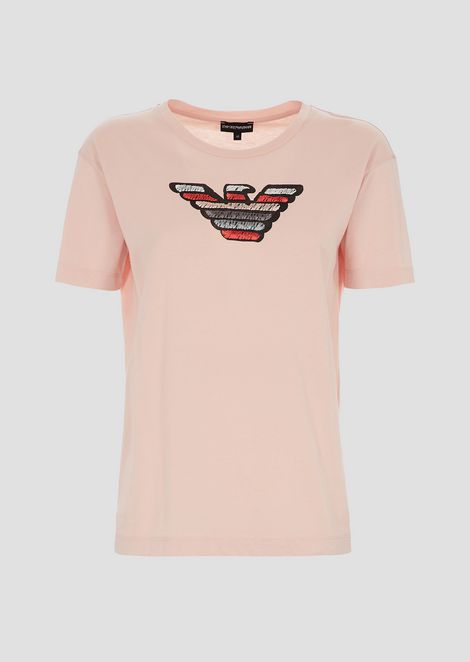 Lightweight cotton jersey T-shirt with eagle logo