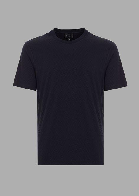 Camiseta de viscosa con dibujo de rombos de jacquard