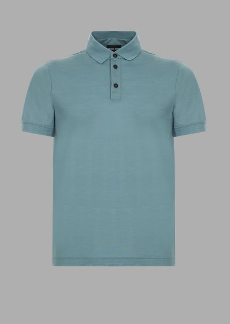 Short-sleeved polo shirt in fresco wool