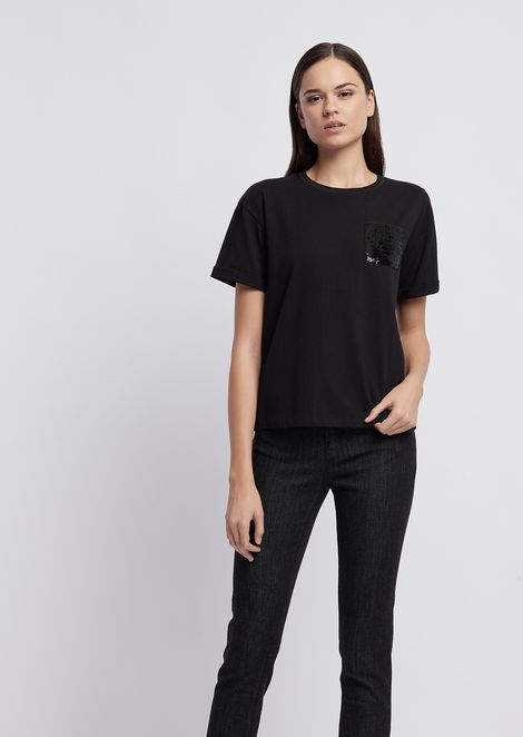 Jersey T-shirt with tone on tone sequinned pocket