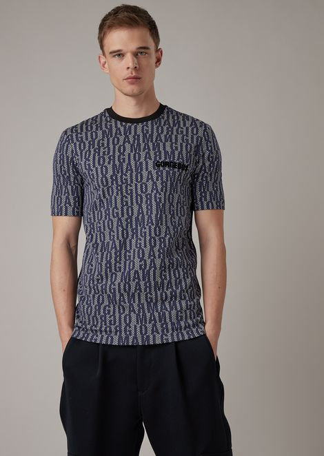 Stretch viscose jersey t-shirt with lettering print