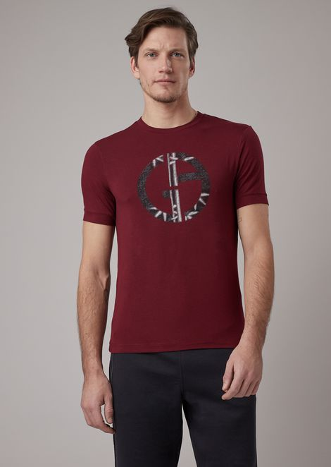 Stretch viscose T-shirt with bamboo print