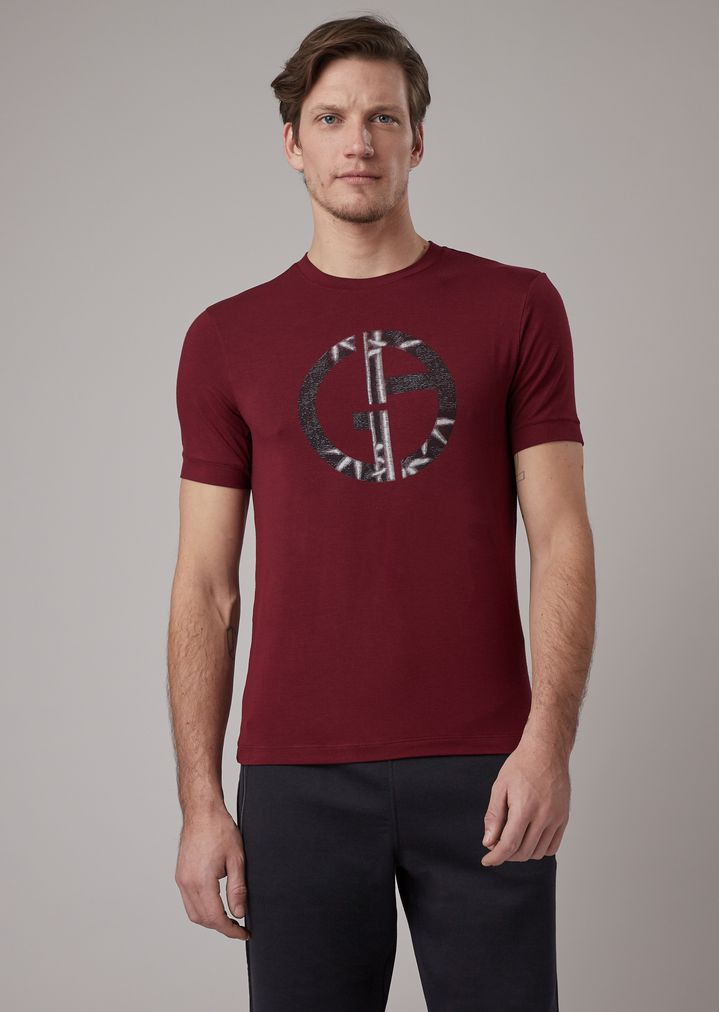 2248d3f923 Stretch viscose T-shirt with bamboo print | Man | Giorgio Armani