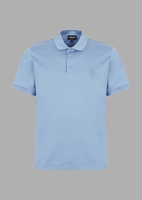 Stretch cotton micro piqué polo shirt