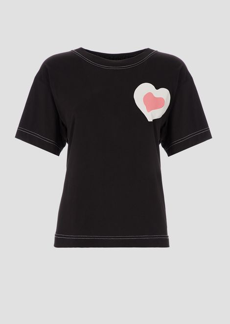 Oversized T-shirt in jersey with heart print