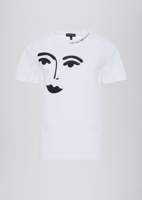 Jersey T-shirt with face print and glitter detail