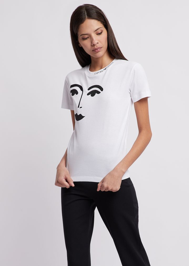 cae626b80d Jersey T-shirt with face print and glitter detail | Woman | Emporio ...