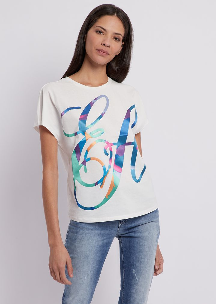 9de3925458 T-shirt in light cotton jersey with multi-colored, logoed print