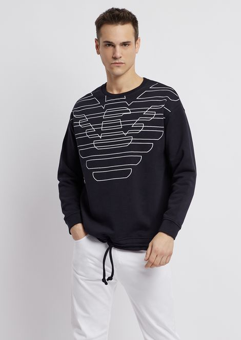 f3d3a0d44 Cotton fleece sweatshirt with logo print and drawstring at the hem