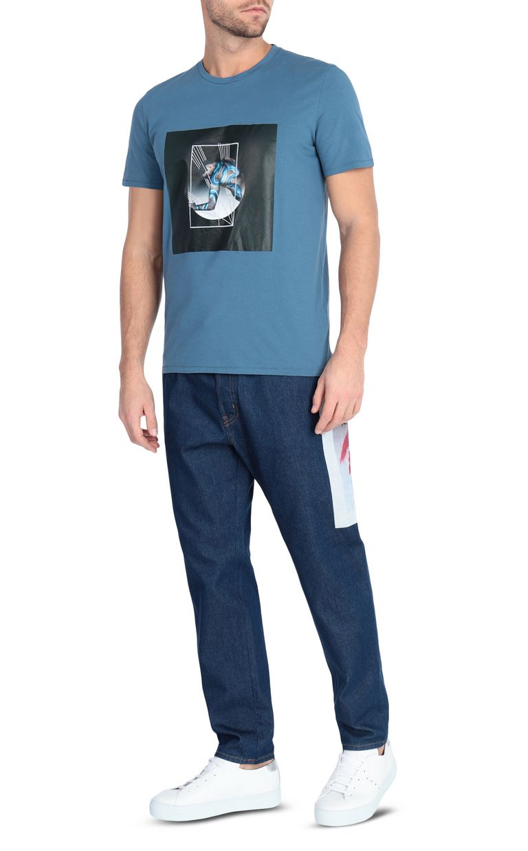 JUST CAVALLI Blue t-shirt with poster detail Short sleeve t-shirt [*** pickupInStoreShippingNotGuaranteed_info ***] d