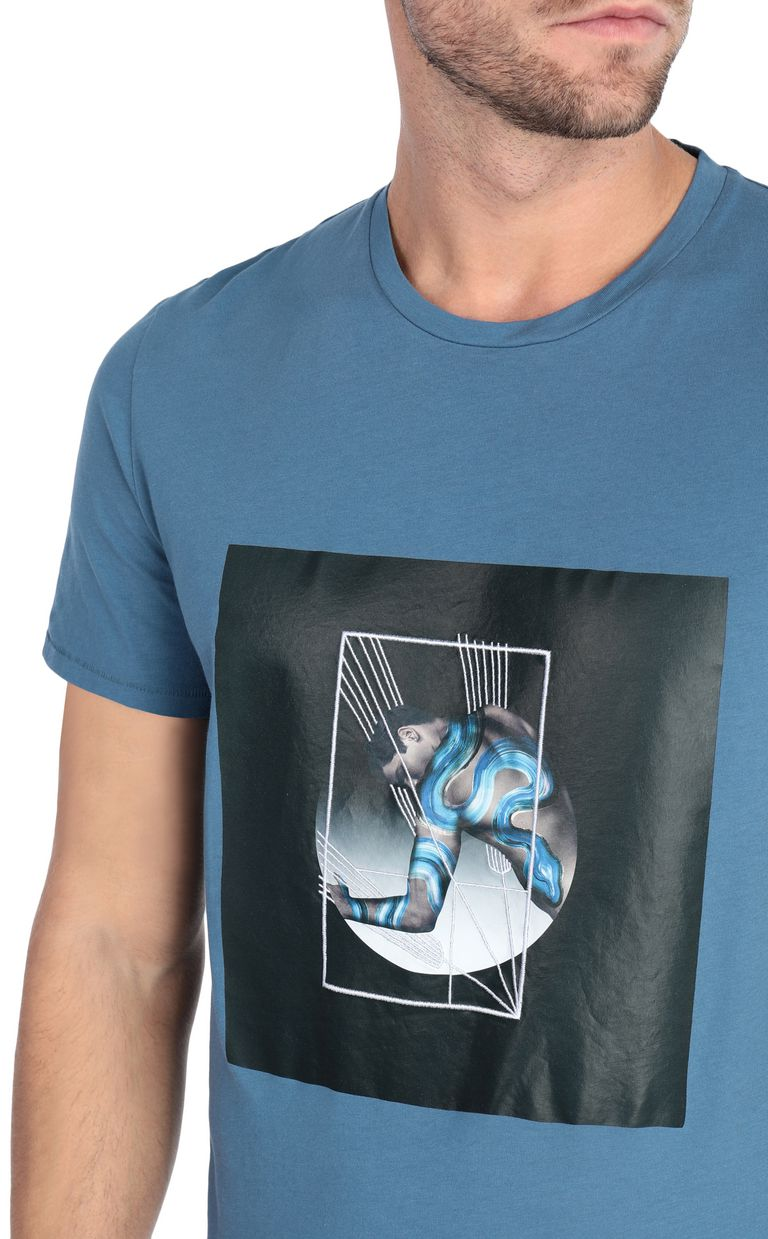 JUST CAVALLI Blue t-shirt with poster detail Short sleeve t-shirt [*** pickupInStoreShippingNotGuaranteed_info ***] e