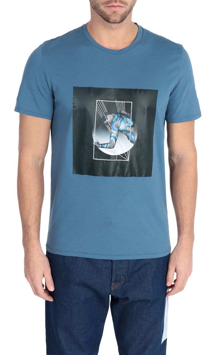 JUST CAVALLI Blue t-shirt with poster detail Short sleeve t-shirt [*** pickupInStoreShippingNotGuaranteed_info ***] f