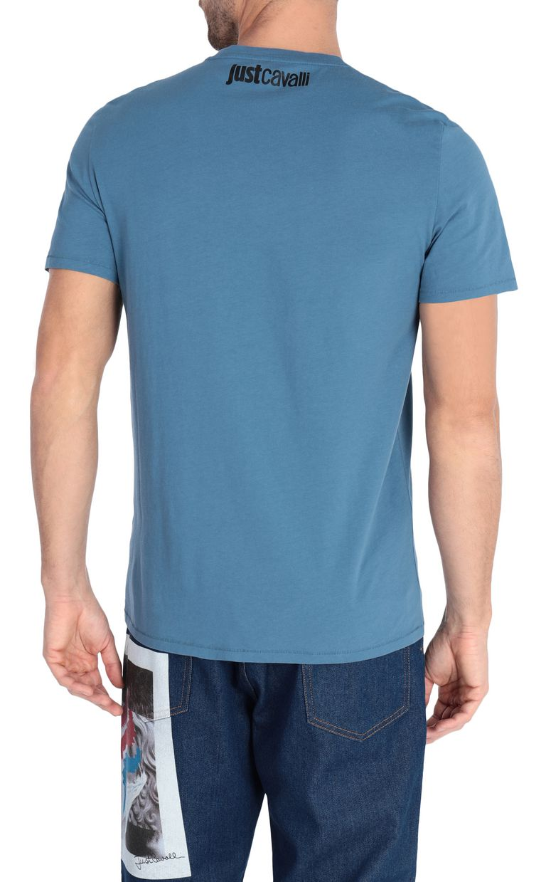 JUST CAVALLI Blue t-shirt with poster detail Short sleeve t-shirt [*** pickupInStoreShippingNotGuaranteed_info ***] r