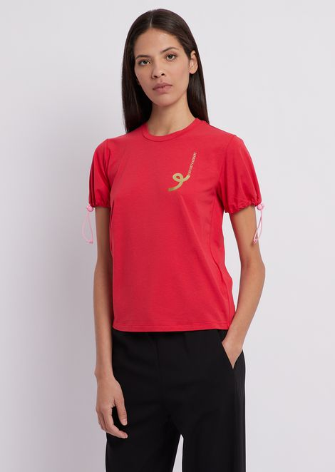 T-shirt in jersey di cotone modal stretch