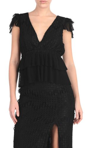 JUST CAVALLI Top [*** pickupInStoreShipping_info ***] Embroidered black top f