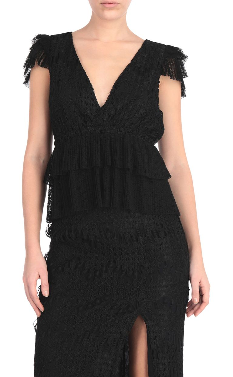 JUST CAVALLI Embroidered black top Top [*** pickupInStoreShipping_info ***] f