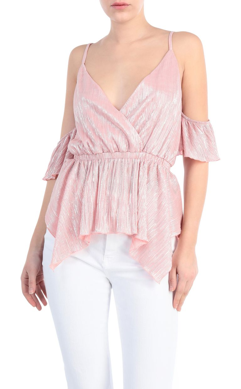 JUST CAVALLI Pleated lurex top Top Woman f