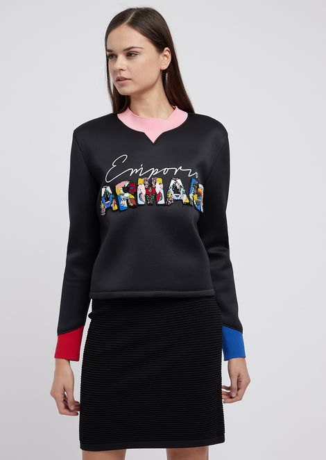 Sweatshirt in scuba fabric with detachable sequined letters