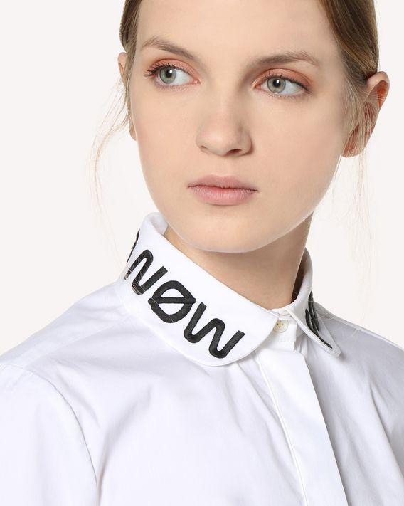 "REDValentino Рубашка из хлопкового поплина с вышивкой ""Follow Me Now"""