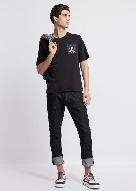 Stretch cotton interlock jersey T-shirt with graphics patch