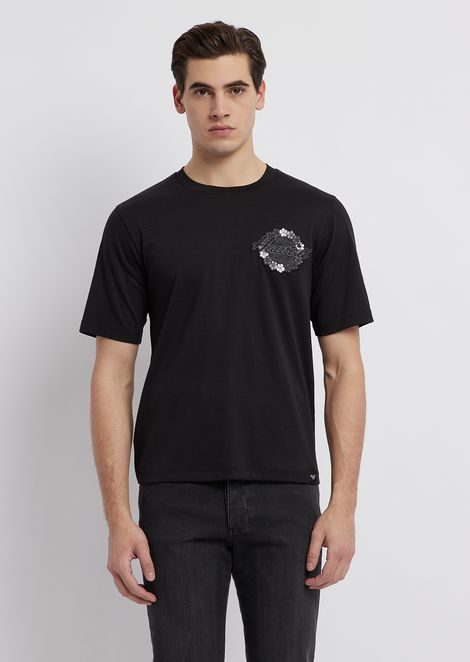 411451f9 Cotton interlock jersey T-shirt with graphic patch