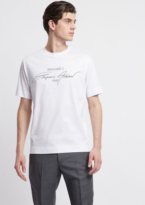 Jersey T-shirt in mercerised cotton with print and logo embroidery