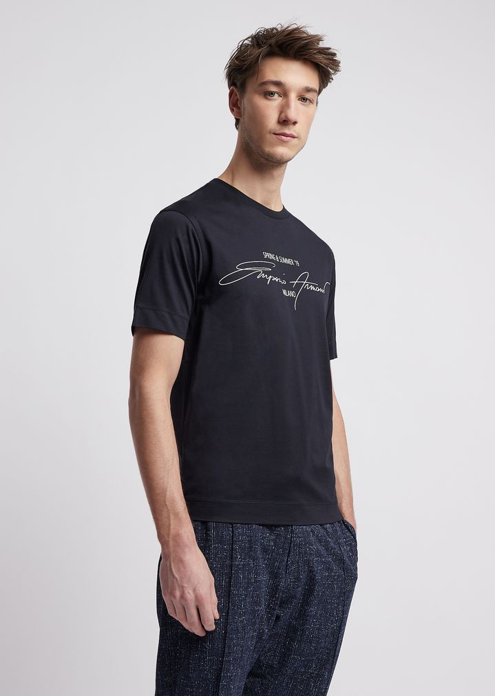 454db31799 Jersey T-shirt in mercerized cotton with print and logo embroidery