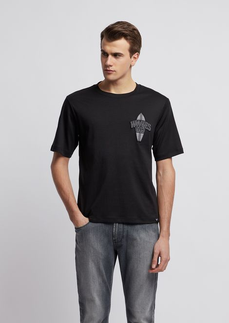 Cotton interlock jersey T-shirt with graphic patch